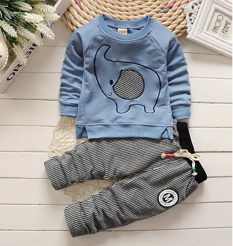 New 2017,Kids boy clothes,Spring Autumn,Elephant style Baby wear,Sport suit,long sleeve t-shirt+pants 2pcs set,For 1-4Year