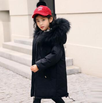 New 2018 Children Winter Jacket Girl Winter Co Kids Warm Thick Fur Coll Hooded Long Down Coats For Teenage 6 8 10 12 Years