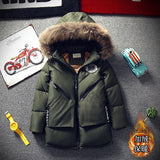 New 2018 Childrens Winter Jacket For Boys Fashion Fur Hooded Thick Cotton-Padded Boy Long Co Solid Parka Kid Clothes Outwears