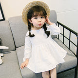 New 2018 Girls Dress Retro Cotton and Linen Girls Small Fresh Long-sleeve Dresses Baby Dress Princess Solid Casual Bow Dresses