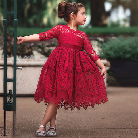 New 2018 Lace Long Sleeve Dress For Children Wedding Party Prom Costume Red & White Floral Embroidery Girl Dresses Kids Clothing