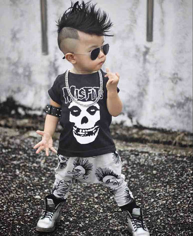 New 2018 Summer Baby Boy Clothing Sets Newborn Misfits Prints Short Sleeve T-shirt+Pants Baby Boys Clothes Toddler Outfits