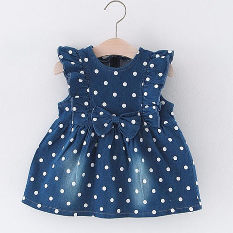 New 2018 Summer Baby Girls Dress Newborn Denim Clothes Big Bow-knot Fly Sleeve Fashion Cute Dots Princess Dress Girls Clothing