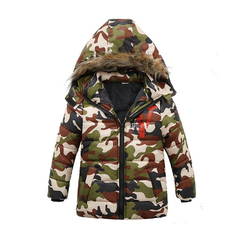 New 2018 Winter Jacket for Boys Hooded Coats Camouflage Children Cotton Padded Jackets Kids Warm Parka Boys Outerwe Fur Collar