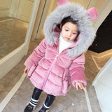 New Arrival Cute Girls Winter Coats Cartoon E Thick Warm Cotton-padded Jacket Princess Girl Velour Outwe Fur Coll JF372