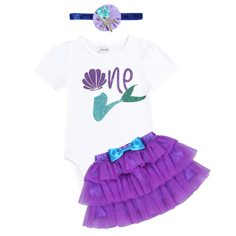 New Arrival Newborn Short Sleeve 1st Birthday Party Outfits Baby Girls Mermaid Outfit Romper with Tutu Skirt and Headband Set
