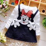New Arrive 2018 Baby Grils Dress Cotton Long Sleeve Braces Cartoon Cute Mini Above Knee Princess Casual girl dress