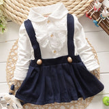 New Arrive 2018 Baby Grils Dress Long Sleeve Braces Cotton Cute Mini Above Knee Princess Casual girl dress