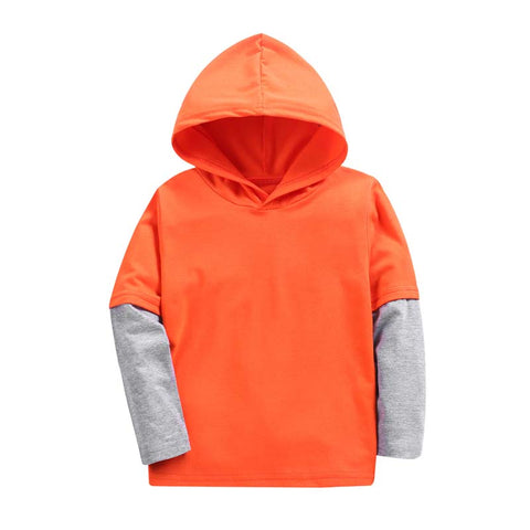 New Arrive Baby Boys Hoodies Kids Child Patchwork Sleeve Tops Girl Hooded Sweatshirts Coat Casual Sport Style Outerwear Clothes