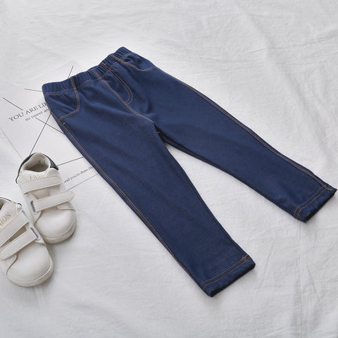 New Autumn Baby Pants Soft Cotton Baby Boy Pants Solid All Matched Girls Trousers White Blue Denim Girl Leggings Boys Legging