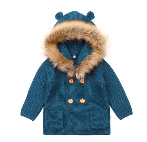 New Autumn Winter Sweaters Baby Boys Girls Cartoon Cardigan Ears Clothing Newborn Knitted Jackets Hooded Long Sleeve Baby Coat