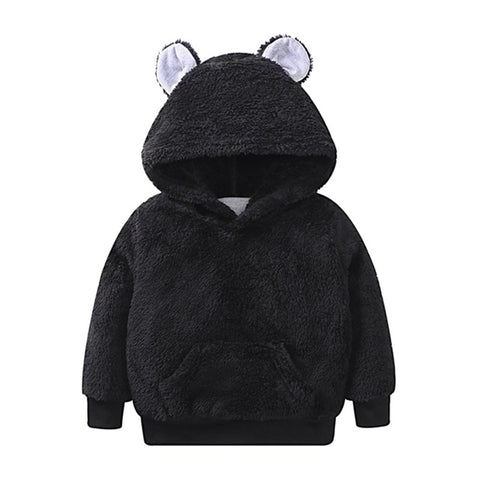 New Baby Boys Solid Be Ears Cute Soft Hairy Long Clothing Sweatshirts High Quality Kids Autumn Winter Warm Hooded Sweatshirts