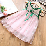 New Baby Girls Embroidery Flowers Sleeveless Dresses Princess Summer Small Fresh Net Yarn Dress For Children's Clothing