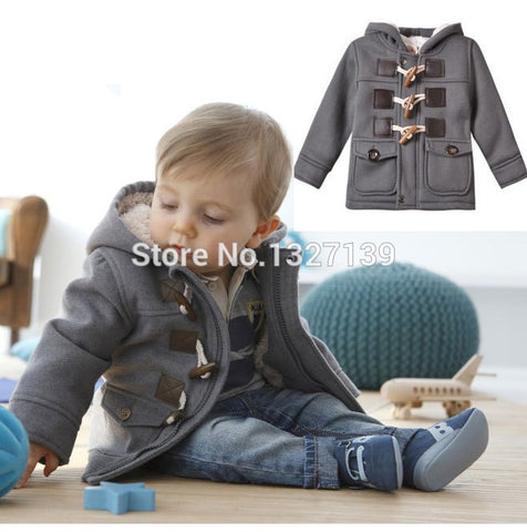 New Baby Infant Child Boys Winter Fleece Horn Button Hooded Coat Hoodies 6M-3T