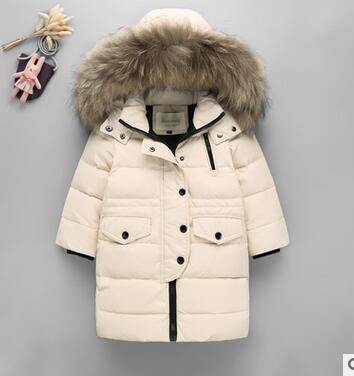 New Children Down Jacket Boy Girls Raccoon Fur Hooded Winter Coats Solid Color Baby Kids Parka Outerwear