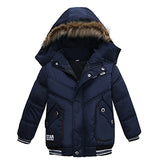 New Children Down Winter Warm Jacket With Fur Baby Boy Girl Solid Overco Hooded Winter Jacket Kid Clothing Coat