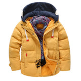 New Children Jacket Outerwe Boys Snowsuit Autumn Winter Thicken Down Hooded Co Parkas Kids Cheap Solid Casual Jacket 5T-12T