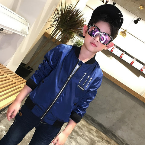 New Coming Boys Clothes Jacket Spring Autumn O-neck Co Boy Jacket Children Solid Casual Blue Green Colors Outerwe Age 5-14