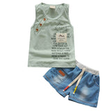New Fashion Baby Boy Clothing Set Tank Top + Shorts Jeans Kids Clothes Toddler Boy Clothing Set Children Clothing Boys Costume