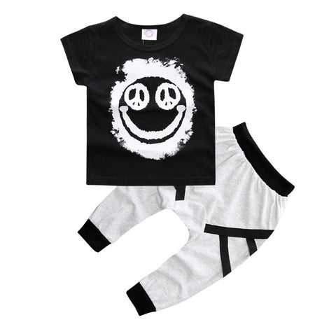 New Fashion Brand Summer Baby girls boy clothing sets Short-sleeved Cotton T-shirt Top+Pants Baby Boys Girl clothes infant suits