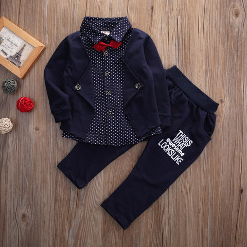 New Fashion Kids 2pcs Formal Dress Shirts Sets Toddler Baby Boys Kids Tops Pants Clothes 2Pcs Fashion Kid Outfits Gentleman Set