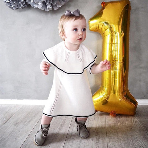 New Fashion Spring Autumn Winter Newborn Baby Girls Sweater Princess Dress Infant Knit dress black and white dress