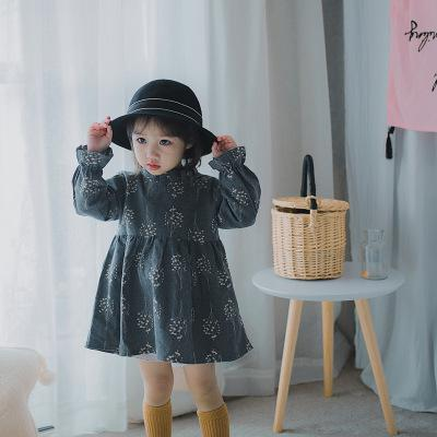 New Girl Dress Girls We Long Sleeved Cotton Dress Small Floral Princess Dress Girl Dress Baby Girl Clothes