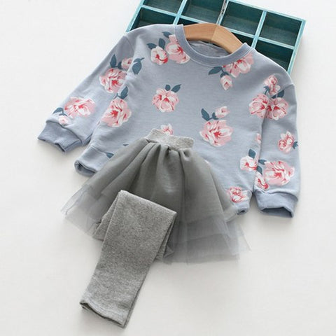 New Girls Clothing Sets Spring&Autumn We Girls Clothes Cotton Printing Long Sleeves Net yarn splicing Dress Pant Kids Sets