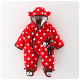 New Infant Baby Winter Clothes Cotton Padded Thick Newborn Baby Girl Warm Jumpsuit Autumn Fashion Baby's We Kid Footies