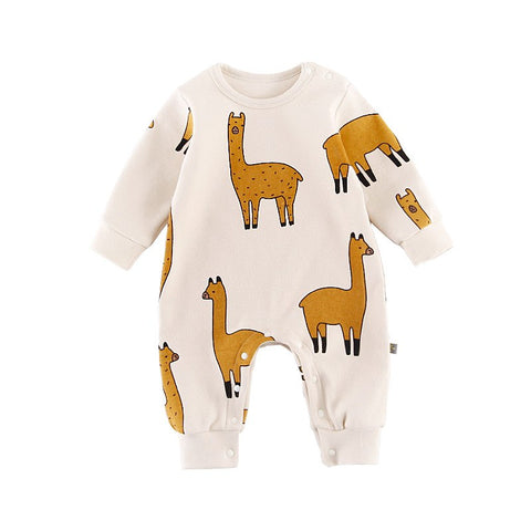 New Infant Toddler Newborn Baby Girl Boy Rompers Alpaca Printed Long Sleeve Jumpsuit Playsuit Outfits Pajamas One Piece Clothes