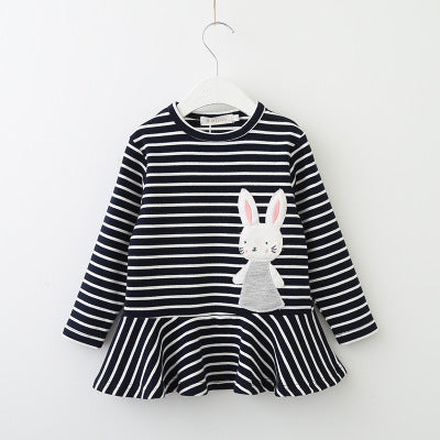 New Listing 2018 Autumn and Spring Cotton Tassel Decoration Long Sleeve Round Neck Stripe Small Flying Sleeve Baby Girls Dress