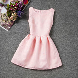 New Pink Teen Girl Dress Summer Princess Solid Dobby Girl Clothes Scho Ceremonies Party Dresses For Children Clothing 12 Years