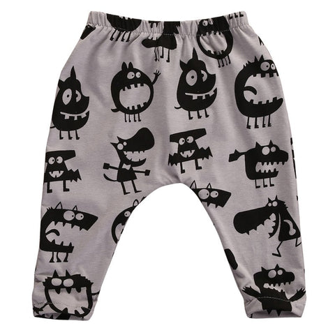 New Style Baby Boy Girls Pants Casual Cotton Pants Cute Monster Printing Soft Lovely Trosers For Baby Casual Harem Pants