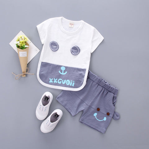 New Summer Baby Clothing Set Cotton Cute Pattern T-shirt&shorts Baby Boy Clothing Sets 0-2 Ye Baby Suit Set Baby Clothes