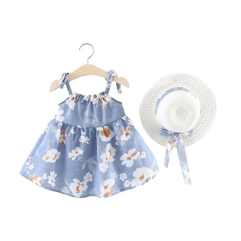 New Summer Baby Dress Bow Sleeveless Floral Beach Baby Girl Dress with Hat A-Line Cotton Infant Dresses for Girls Clothes