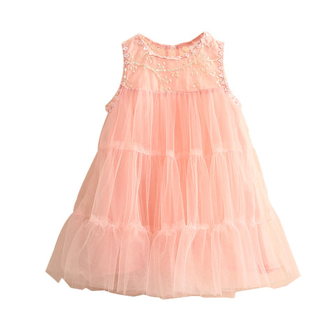 New Sweet Cute Girls Dress 2018 Summer Princess Party Pink & White Lace Dresses Toddler Teens Children Clothing