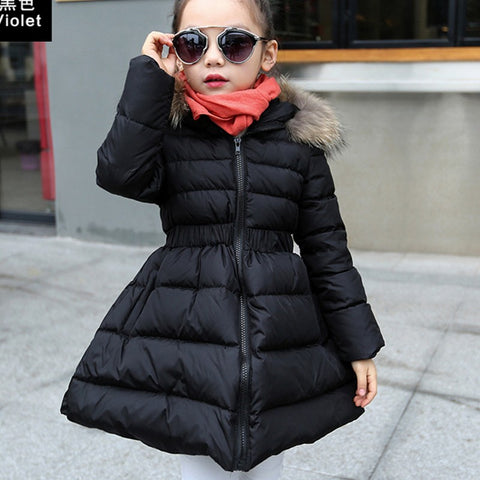 New Winter Jacket Girl Hooded Zipper thickness Manteau Fille Hiver Girls Winter Co 7WT006