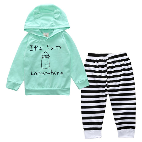 New design Baby Clothing Baby Boy Girl Striped Floral Hoodies Top Pants Striped Leggings 2pcs Outfit Set