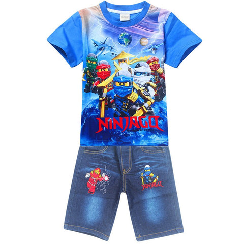 New kids clothes 4-9Years Old Ninjago Children Kids Clothing Sets Summer Cotton Boys Tops Tees And Jeans Pants Clothing sets