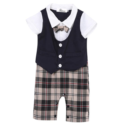 Newborn Baby Boy Clothes Formal Bodysuit Outfit Gift short Sleeve New Outfits Summer 6 9 12 18 24 Monthes