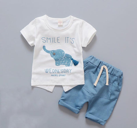 Newborn Baby Boy Clothes Summer Infant Clothing Short Sleeved T-shirts Tops Striped Pants Kids Bebes SuitsToddler Outfits Set