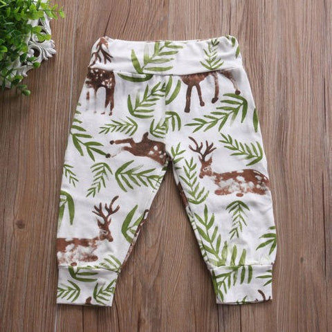 Newborn Baby Boy Girls Bottoms Deer Floral Pattern Harem Pants Leggings Pants 0-24M