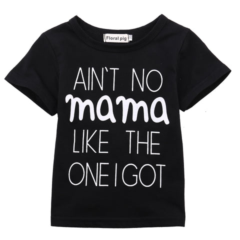 Newborn Baby Boys Girl Sweatshirt Cotton Short Sleeve Black T-shirt Casual Clothes Letter MAMA Tops Outfits 0-24M