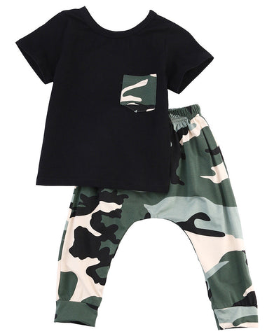 Newborn Baby Boys Girls Clothing Sets Toddler Outfits Top + Pants Army Green Casual Clothes Sets 0-3Y
