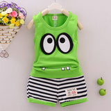 Newborn Baby Clothes 0-24M Infant Boys Girls Baby Sets Summer Sleeveless Cartoon Eye Tops +Striped Shorts Kids Clothing Suit D10