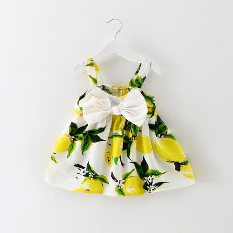 Newborn Baby Clothes Sleeveless Lemon Print Bow Dress 2018 Summer Girls Casual Baby Clothing Cool Cotton Party Dresses Toddlers