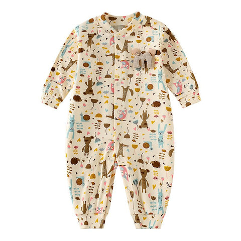 Newborn Baby Girl Clothes Single Breasted Cotton Baby Clothing Cute Rabbit Baby Footies For New Born Baby Girl Winter Overalls