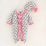 Newborn Baby Girl Cotton Ruffle Footies with Cap 2018 New Spring Print Bow Overall 1piece Infant Girl Clothes Born 3m 6m Gift