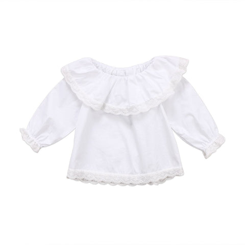 Newborn Baby Girls Blouse Solid White Long Sleeve Lace Tops Autumn Ruffle Girl Blouse