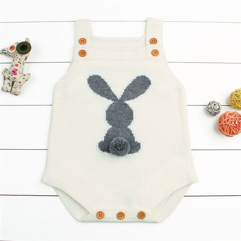 Newborn Baby Girls Boys Rompers Knitted Cute Rabbit Sleeveless Body Suit Infant Black Gray Outfit We Toddler Sweaters Jumpsuit